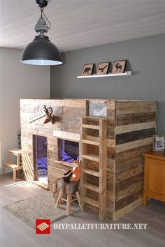 Here you can already see the finished palettophile berth made with recovered wood, inside has been added multicolored led lights in addition to various Cool Bunk Beds, Pallet Beds, Kids Room Design, Palette, Kids Bedroom, Room Decor, Interior, Furniture, Lincoln