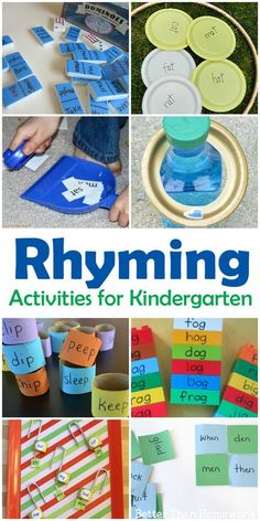 Fun Rhyming Activities for Kindergarten – Creative Family Fun Rhyming can be so much fun when you try one of these Rhyming Activities for Kindergarten. You'll find over 10 hands-on literacy activities for kids. Reading Games For Kindergarten, Rhyming Kindergarten, Preschool Learning, Learning Activities, Indoor Activities, Summer Activities, English Activities For Kids, Emergent Literacy, Preschool Writing