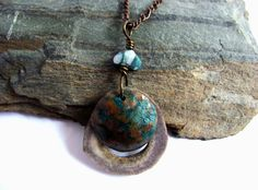 Antler Copper Stone Pendant Necklace Wire Wrapped by Hendywood, $25.00