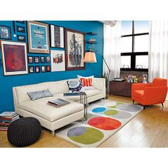 hemisphere rug in rugs | CB2 - love this rug and how the pics are arranged on wall