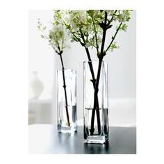 REKTANGEL Vase - IKEA. This could work. Its slightly shorter and more narrow than the one we mocked up.... but $1.99ea :)