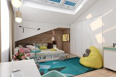 Cette carpette ajoute une belle touche de gaieté et couleur à cette chambre d'ado.