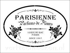 Shabby Chic sjabloon Parisienne Parfum Roses