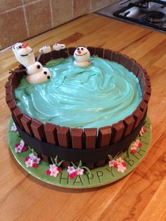 Olaf the Snowman in his hot tub- Frozen cake