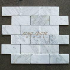 "Wall accent/border - Carrara White (Bianco Carrera) 2""x4"" Grand Brick Subway Mosaic Tile Polished - Marble from Italy"