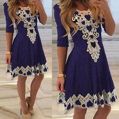 Fashion Women Summer Lace Long Sleeve Party Evening Cocktail Short Mini Dress