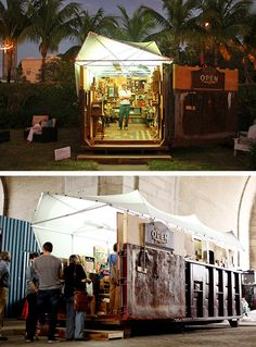 Artist Mac Premo turned a 30-yard dumpster into a mobile art gallery. The traveling dumpster gallery has made its way to various art festivals, such as the PULSE Art Fair in Miami, and now finds its home in Brooklyn, NY. It contains over 500 pieces of art.