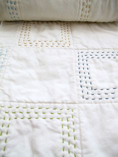 Baby Quilt  Handstitched Patchwork by SixWhiteHorsesStudio on Etsy