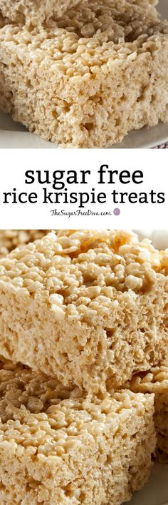 Sugar Free Rice Krispie Treats-This recipe for a copycat version of the famous Rice Krispie Treats or cereal treat can be made with low sugar or sugar free. This is the perfect treat, snack, dessert or fun gift to give to someone else. This is so easy to Sugar Free Deserts, Low Sugar Desserts, Sugar Free Sweets, Sugar Free Cookies, No Sugar Foods, Sugar Free Recipes, Dessert Recipes, Dessert Bread, Low Sugar Meals