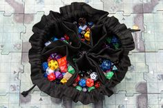 Colossal Bag of Many Dice -Large 6 Pocket Dice Bag - Solid Black - Can hold a pound of dice! - READY TO SHIP