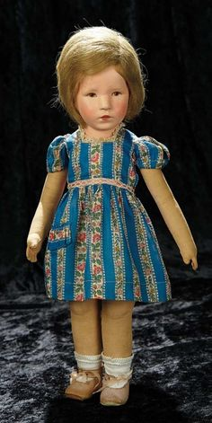 Soirée: A Marquis Cataloged Auction of Antique Dolls and Automata - May 14, 2016: Lot 103. German Cloth Character Girl by Kathe Kruse, Type VIII, in Original Costume