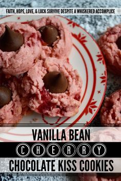 Vanilla Bean Cherry Chocolate Kiss Cookies - Looking for a sweet festive cookie to share with your loved one this Valentine's Day? These maraschino cherry cookies contain not just vanilla extract but also the seeds from two vanilla bean pods, making them a vanilla lover's dream come true. Add a chocolate kiss on top of each cookie for the ultimate treat to show your sweetheart just how much you love them. Chocolate Kiss Cookies, Chocolate Bomb, Chocolate Cherry, Cherry Cookies, Sugar Cookie Bars, Bean Pods, Fortune Cookie, Pinterest Recipes, Bake Sale