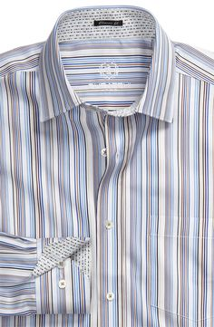 AMAZING Bugatchi Uomo men's dress shirt with killer contrast collar and cuffs. Perfect for work & play!