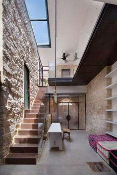 Stone, Metal, Glass, Wood & Skylight / Interior Courtyard