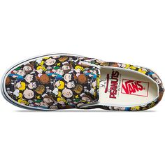 Vans X Peanuts Classic Slip-On Shoes ❤ liked on Polyvore featuring shoes, slip on shoes, slip-on shoes, vans shoes, vans footwear and pull on shoes