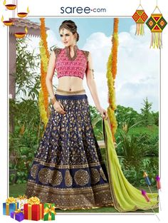Blue Silk Lehenga Choli with Embroidery Work - Image 2