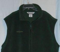 COLUMBIA Fleece Vest Men Size XL XLarge Full-Zip Up - Green