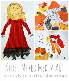 Kids Mixed Media Art -- inspiring creativity with fabric scraps!