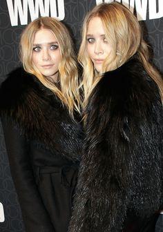 Mary-Kate & Ashley Olsen in black with long wavy hair #beauty #celebrity #mka