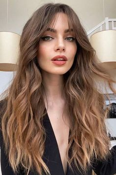 Haircuts For Fine Hair, Hairstyles With Bangs, Straight Hairstyles, Haircut Long Hair, Haircut Bangs, Going Out Hairstyles, Bangs Hairstyle, Wavy Haircuts, Trendy Haircuts