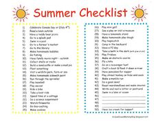 East  Coast  Mommy: Summer Checklist {with free printable}