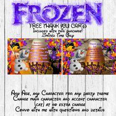 Frozen Halloween Birthday Invitation, Halloween Invitation- Olaf Halloween Invitation-Frozen Halloween Birthday Party-FREE Thank you card by MyPrintablePartyLine on Etsy