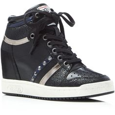 Ash Prince Lace Up Mid Top Wedge Sneakers ($250) ❤ liked on Polyvore featuring shoes, sneakers, lace up shoes, wedged sneakers, ash footwear, ash trainers and lace up sneakers