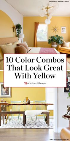 Yellow may seem like an intimidating color choice, but this cheery tone is really versatile. As a member of the warm color family, it packs a punch when paired with a variety of hues, from bright orange to cooler, complementary purple. Here are ten no-fail color combos for decorating with yellow.  #yellow #yellowdecor #colorpalette #yellowcolorpalette #colorcombos #thingsthatgowithyellow Navy Accent Walls, Neutral Walls, Color Trends, Color Combos, Colour Match, Bedroom Wall, Bedroom Decor, Boho Chic Bedroom, Yellow Sofa