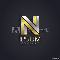 Vector graphic elegant silver and gold impossible font / symbol