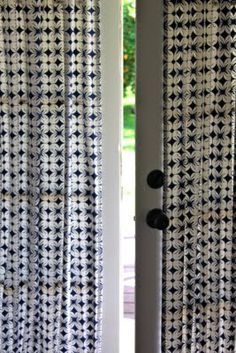 French doors are a bit of a curtain conundrum – if you use hanging curtains on a rod above they're always in the way when you want to go in and out, while off-the-rack French door panel… How To Make Curtains, Diy Curtains, Hanging Curtains, Panel Curtains, Sidelight Curtains, French Door Curtain Panels, Sweet Home, My Living Room, Panel Doors