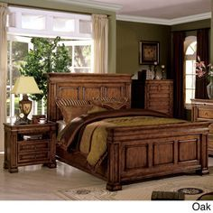 Shop for Furniture of America Claresse Traditional Tobacco Oak Panel Bedroom Set. Get free delivery On EVERYTHING* Overstock - Your Online Furniture Shop! Get in rewards with Club O! Small Room Bedroom, Bedroom Sets, Small Rooms, Queen Bedroom, Queen Beds, Oak Bedroom Furniture Sets, Brown Furniture, Empire Furniture, Oak Panels
