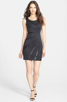 Sequin Embellished Scuba Sheath Dress
