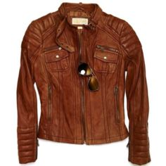 From Michael Kors - A classic leather jacket, in my book, is a wardrobe staple. Try this one over a flowy, feminine dress for a fabulous mix of hard & soft. Casual Outfits, Fashion Outfits, Fashion Trends, Fashion Ideas, Women's Fashion, Classic Leather Jacket, Michael Kors Jackets, Brown Jacket, Feminine Dress