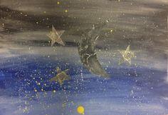 Watercolor, tin foil, breadth, 7in x 10in