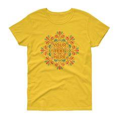 Women's Personalised mandala short sleeve t-shirt. Your text here, ladies mandala shirt. A heavy cotton, classic fit ladies scoop neck t-shirt. Custom T, Neck T Shirt, Size Chart, Short Sleeves, Mandala Design, Cotton, Mens Tops, Spiritual, Shirts