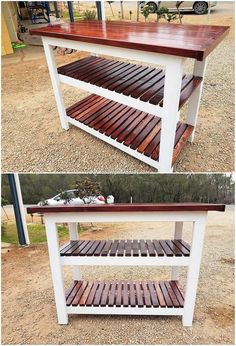 Use of the pallet shelving table in house is surely becoming one of the main necessity. Do you have a wood pallet shelving table creation in your garden? Wood Pallet Recycling, Diy Pallet Sofa, Recycled Pallets, Wooden Pallets, Recycled Wood, Wooden Diy, Pallet Furniture, Cheap Furniture, Furniture Cleaning