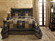 """- Our Alexander Star Quilt Sets feature navy blue and deep khaki tan in checks, plaids, and solids with a star motif - 100% cotton and machine washable - Quilt measures 100x90"""" and comes with 2 king s"""
