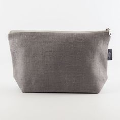 Large Grey Pure Linen Makeup Bag Cosmetic Bag Canvas by ThingStore
