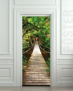 "GIANT Door STICKER rope bridge tropic forest, mural, decole, film 30x79"" (77x200 Cm) - Wall Decor Stickers"