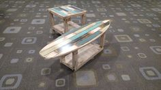 15 Cool Surfboard Coffee Tables That Are Totally Rad! Looking for some cool surfboard coffee tables? Check out our list of unique surfboard tables here and find that one which will suit your living room! Pallet Art, Diy Pallet Projects, Pallet Ideas, Pallet Furniture, Home Furniture, Plank, Garden Coffee Table, Coffee Tables, Surfboard Coffee Table