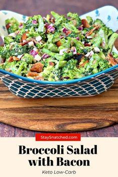 Easy, Keto Low-Carb Broccoli Salad with Bacon Broccoli Recipes Side Dish Healthy, Frozen Broccoli Recipes, Low Carb Broccoli Salad, Salad Recipes With Bacon, Veggie Side Dishes, Bacon Recipes, Healthy Side Dishes, Vegetable Dishes, Side Dish Recipes