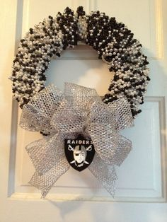 Oakland Raiders Wreath by LimeABeads on Etsy, $45.00