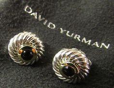 BEAUTIFUL NEW DAVID YURMAN ONYX COOKIE EARRINGS 14k GOLD ON STERLING SILVER .925 - http://designerjewelrygalleria.com/david-yurman/beautiful-new-david-yurman-onyx-cookie-earrings-14k-gold-on-sterling-silver-925/
