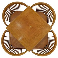 Rare Kaare Klint Table and Chair Set for Rud Rasmussen | From a unique collection of antique and modern dining room sets at http://www.1stdibs.com/furniture/tables/dining-room-sets/