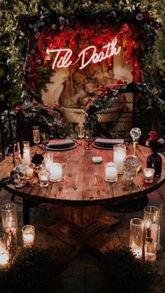 """Autumn Wedding Ideas Til Death wedding neon sign - Gone are the days of taking the """"Halloween Wedding"""" theme so literally! Check out these ideas for an elegant Halloween wedding we like to call """"spooky-chic. Wedding Table, Fall Wedding, Wedding Ceremony, Dream Wedding, Rustic Wedding, Edgy Wedding, Wedding Backdrops, Ceremony Backdrop, Horror Wedding"""