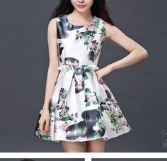 Sleeveless Waist Was Thin Retro Print Dress --C on Luulla