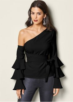 RUFFLE OFF THE SHOULDER TOP, PEARL DROP EARRINGS, EVERYDAY YOU STRAPLESS BRA