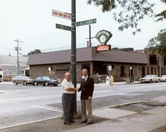 Home Run Inn founder, Nick Perrino (pictured left), outside the original Home Run Inn restaurant on 31st Street (Home Run Inn Ave.) in Chicago