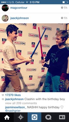 Nash Grier and Jack Johnson  ( Nash with the blue light saber and Jack with the red!)