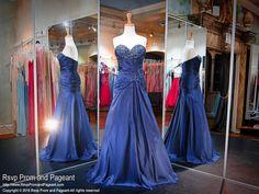 Navy Beaded Sweetheart Prom Dress